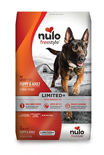 Nulo All Natural Dog Food: Freestyle Limited Plus Grain Free Puppy & Adult Dry Dog Food - Limited Ingredient Diet for Digestive & Immune Health - Allergy Sensitive Non GMO Turkey Recipe - 10 lb Bag