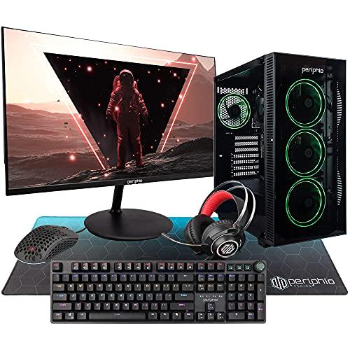 Periphio Entry-Level Gaming PC Computer, Intel Core i5 6500, Integrated HD Graphics, 16GB DDR4 RAM, 240GB SSD + 1TB HDD, Windows 10 Home, WiFi, iGPU Gaming (4in1 Bundle w/HD Monitor) (Renewed)
