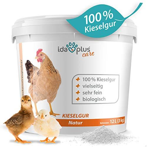 Ida Plus – Ciottoli naturali in secchio/sacco, silice biologica come polvere – Il prodotto biologico per il vostro pollaio & giardino – ottimo per polli, quaglie e altri pollame
