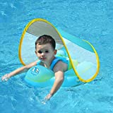 Bouée de natation pour bébé, pour les enfants de 3mois à 4ans, avec pare-soleil, bleue, taille L