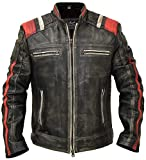 Cafe Racer Vintage Retro Distressed Biker Black Cowhide Leather Jacket - Moto Leather Jacket Men (L/Body Chest 42' to 44')