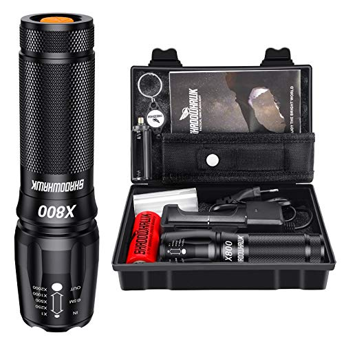 Shadowhawk X800 Led Taschenlampe, Super Helle 3000 Lumen Taschenlampen, Wiederaufladbare Taktische Taschenlampe mit Zoom für Camping, Wandern und Notfälle (mit 5000mah 26650 Batterie)