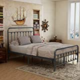 Elegant Home Products Victorian Vintage Style Platform Metal Bed Frame Foundation Headboard Footboard Heavy Duty Steel Slabs Queen Size Silver/Gray Textured Charcoal Finish (Black/Silver, Full)