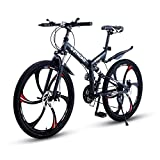 Max4out Mountain Bike Folding Bikes with High Carbon Steel Frame, Featuring 6 Spoke Wheels and 21 Speed Shimano Shifter, Double Disc Brake and Dual Suspension Anti-Slip Bicycles Black