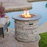 Christopher Knight Home Hoonah Circular MGO Fire Pit with Grey Top - 40,000 BTU, 32', Natural Stone / Grey Top