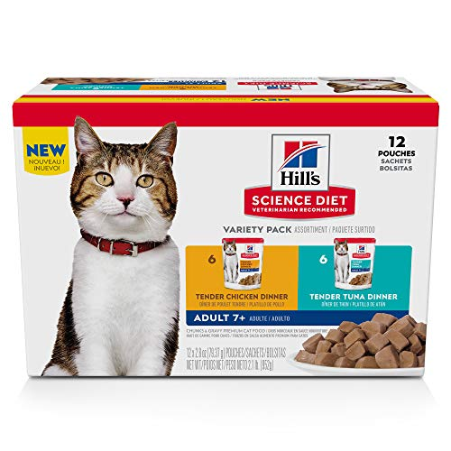 Hill's Science Diet Senior Chicken, Tuna and Ocean Fish Wet Cat Food Variety Pack