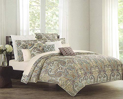 Nicole Miller Full Queen Duvet Cover Set Large Floral Paisley Medallion Blue Red Khaki Sage Brown