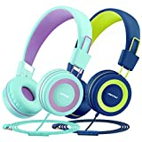 Mpow CH8 Kids Headphones with Microphone 2 Pack, Wired On Ear Headphones for Kids with 91dB Volume...