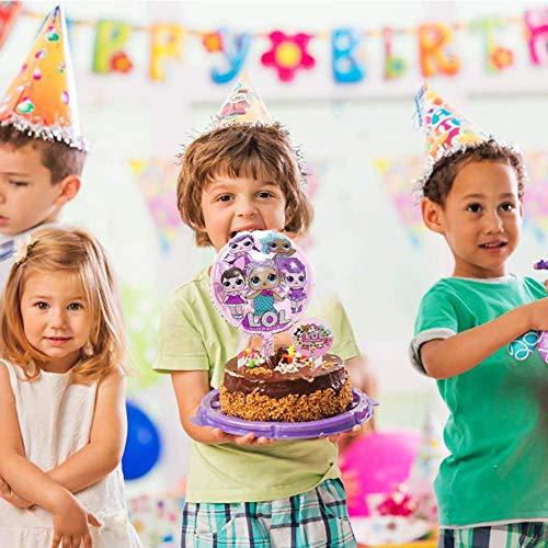 Image 6 - REYOK LOL Cake Topper+Surprise Poupée Feuille Ballon,LOL Double Face Gâteau Topper avec Bord de Gâteau(29 pièces),LOL Joyeux Anniversaire Fête Fournitures pour Enfants Décor