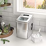 Cloud Mountain Countertop Portable Ice Maker Machine - 9 Ice Cubes Ready in 6 Mins - Makes 26 lbs Ice in 24 hrs - Electric Ice Making Machine with Removable Basket and Ice Scoop (Sliver)