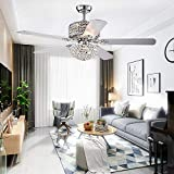 52'' Crystal Ceiling Fan With Lights and Remote Control 5 Wood Blades For Living Room Bedroom Decoration Silver,Tropicalfan