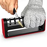Upgraded Kitchen Knife Sharpener, Ulwae 3-Stage Chef Knife Sharpener to Restore Non-Serrated Knife Blades Quickly, Safely, and Easy to Use for Kitchen, Camping & Hiking