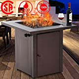Fire Pit, Propane Gas Outdoor Firepit Portable TableFirePit with Lava Rack Burner, 48,000 BTU Square Tabletop Fireplaces, CSA Certification, for Deck Patio Backyard Garden Camping, Antique Bronze