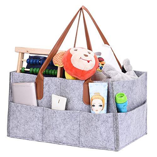 VJK Baby Nursery Diaper Caddy Organizer, Bolsa de Asas para pañales de Nursery, Papelera de Almacenamiento de Nursery para Cambiador, Organizador portátil de Viaje en automóvil