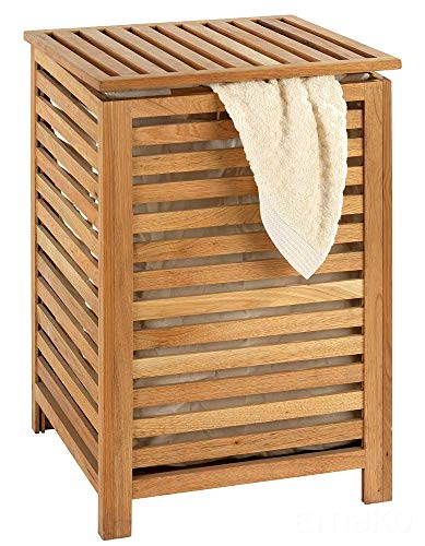 WENKO Wäschetruhe Norway, Wäschesammler mit herausnehmbarem Baumwoll-Wäschesack, Walnussholz, Fassungsvermögen 56 L, 45 x 65 x 45 cm, natur