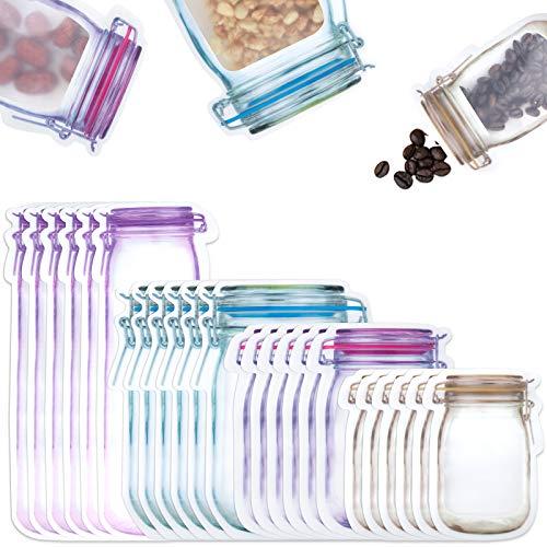 Comius Sharp Bottiglie Mason Jar Borse, 40 Pezzi Sacchetti con Cerniera per Alimenti, Sacchetti per Alimenti Riutilizzabili, Borse Sigillati per Dolci, Snack, Cibo o t