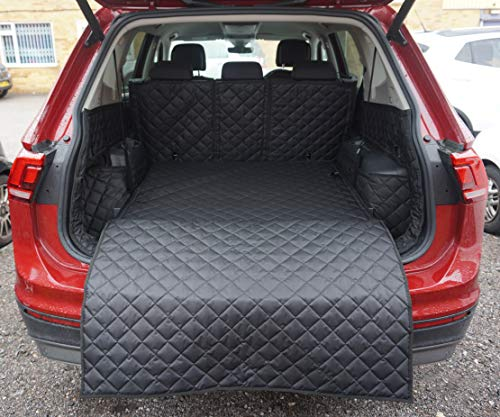 Premier Products- FULLY TAILORED Quilted Boot Liner to Fit Tiguan Allspace 5 Seater (2017-Date) - Waterproof Hard Wearing Boot Protection with Bumper Flap- Ideal for Pet Owners & Families- BLACK