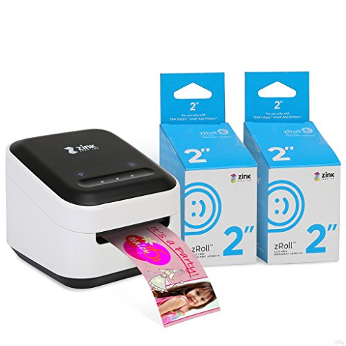 ZINK Phone Photo & Labels Wireless Printer. Wi-Fi Enabled. Print Directly from iOS & Android Smart Phones, Tablets. Includes Free Arts & Crafts App. + 2 Pack of 2 inch zRoll Full Color, Ink-Free