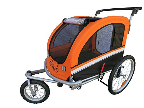 Booyah Large Pet Bike Trailer Dog Stroller & Jogger with Shocks MB - Orange