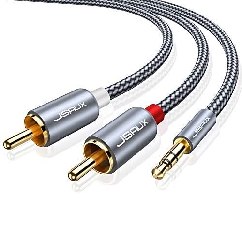 JSAUX RCA Cable, [6.6ft/2M, Dual Shielded Gold-Plated] 3.5mm Male to 2RCA Male Stereo Audio Adapter Coaxial Cable Nylon Braided AUX RCA Y Cord for Smartphones, MP3, Tablets, Speakers, HDTV [Grey]