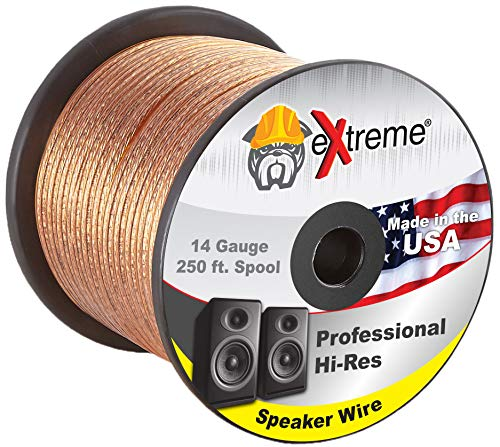 250 Feet 14 Gauge Pure Copper Core eXtreme Speaker Wire, Not CCA (Copper Clad Aluminum) for Optimal Audio Performance | Stranded Core and Polarity Stripe 1
