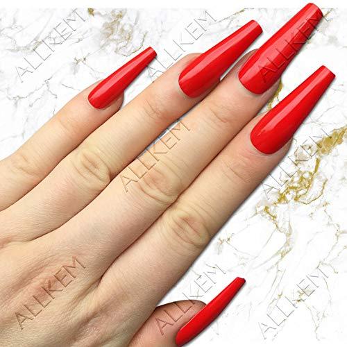 Red Extra Long Coffin Press on Nails Long Ballerina False Nail - Tips 20 pcs Full Cover Acrylic fake Nails 10 SizeS