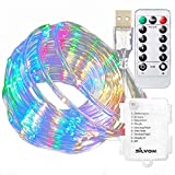 Silvom Xmas Rope Lights, 33ft 100 LED Battery & USB Plug-in Powered Rope String Lights with 8 Modes Waterproof Box & Timer Remote Controller for Christmas Patio Wedding Party Home Decor, Multi Color