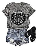 StarVnc Women Basic Witch T-Shirts Hocus Pocus Halloween Shirts Goth Costume (XL, Grey)