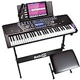 RockJam, 61-Key Keyboard SuperKit with Stand, Stool, Headphones & Power Supply, KeyNote Stickers & Simply Piano App, (RJ561)