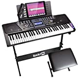 RockJam 61-Key Electronic Keyboard Piano SuperKit with Stand, Stool, Headphones & Power Supply, Black - RJ561