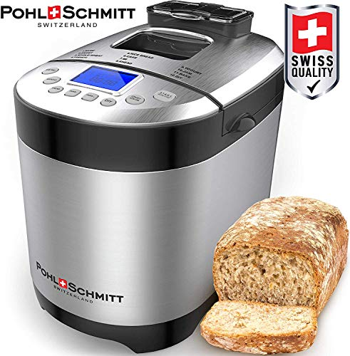 Pohl Schmitt Stainless Steel Bread Machine, 2LB 17-in-1 with Fruit Nut Dispenser, Nonstick Ceramic Pan & Digital Touch Panel, 3 Loaf Sizes 3 Crust Colors, Reserve, Keep Warm, and Recipes