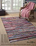 Handwoven Multi-Coloured Chindi Rag Rug, Carpet for Living Room and Entry Way (60'x96'- 5'x8')