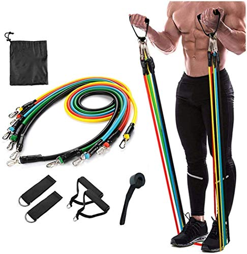 ZURATO Resistance Bands Set (11pcs), Exercise Bands with Door Anchor, Handles, Waterproof Carry Bag, Legs Ankle Straps for Resistance Training, Physical Therapy, Home Workouts