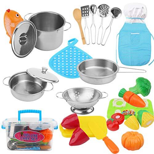 FORMIZON Giocattoli da Cucina per Bambini, 25 Pezzi Kit da Cucina Set da Gioco per Bambini, Cucina Pentole Giocattolo Mini Pentole e Padelle in Acciaio Inossidabile, Grembiule e Cappello