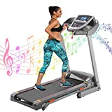 Electric Home Treadmill with Incline 3.25HP Folding Treadmills for Home Office Gym Cardio Exercise Walking Jogging Running Machine with Bluetooth APP Control 243lbs Capacity (Gray)