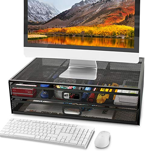 Monitor Stand Riser with Dual Pull Out Storage Drawer - Metal Mesh...