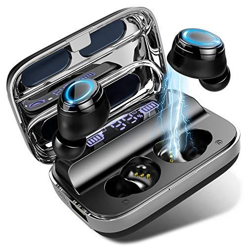 Bluetooth Kopfhörer, In Ear Kabellos Kopfhörer Bluetooth 5.0 Wireless Earbuds mit 140H Spielzeit, HD Mikrofon, HiFi Stereo Sport Headset, IP7 Wasserdicht Mini ohrhörer, Type-C Quick Charge, Schwarz