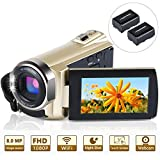 Video Camera Camcorder WiFi FHD 1080P 30FPS 24MP Infrared Night Vision YouTube Vlogging Camera Recorder 3.0 Inch 270 Degree Rotation Touch Screen 16X Digital Zoom Camcorder with 2 Batteries
