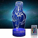 Luz de noche creativa 3D Hatsune Miku 16 colores cambiante lámpara de...