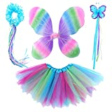 4 PC Girls Fairy Wings Butterfly Costume Set with Wings, Tutu, Wand & Halo
