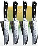 DALSTRONG Steak Knives 4-Piece Set - 5' - Straight-Edge Blade - Gladiator Series - Forged German ThyssenKrupp HC Steel - Black G10 Handle - Sheaths Included - NSF Certified