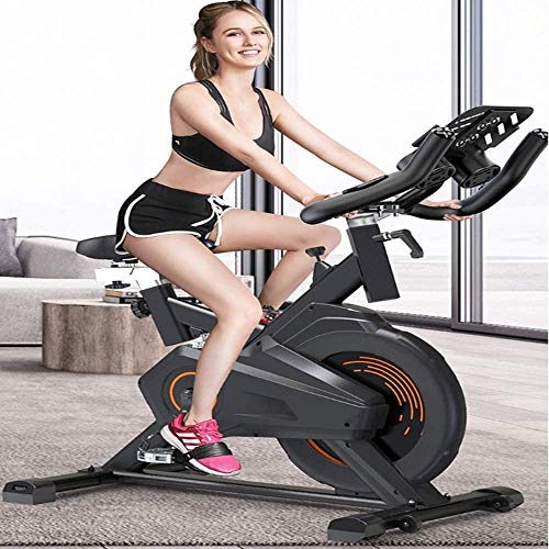 YFFSS Exercise Bike, Indoor Smart Exercise Bike, Home Silent Stationary Bike, Safety Non-Slip Pedal, with Moving Roller and Level Adjuster, Suitable for Offices, Gyms 5