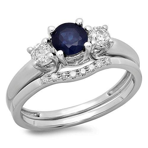DazzlingRock Collection 14K Oro Azul Zafiro y Blanco Diamante Bridal 3Piedra Anillo de Compromiso Boda Set