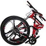 OBK G4/G6 26' Full Suspension Folding Mountain Bike 21 Speed Bicycle Men or Women MTB Foldable Frame (KT-R)