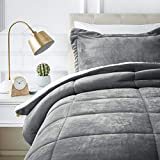 AmazonBasics Ultra-Soft Micromink Sherpa Comforter Bed Set, Twin, Charcoal - 2-Piece