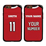 Custom Football Jersey Cases for iPhone 6 / 6s by Guard Dog  Personalized Sports  Your Name and Number on a Protective Hybrid Phone Case. Incl.Guard Glass Screen Protector (Black/Red)