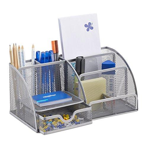 Relaxdays Schreibtischorganizer 6 Ablagen, kompakter Büroorganizer, Metall, Schublade, Zettehalter, Stifteköcher, silber