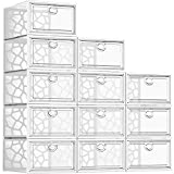 Pinkpum Shoe Boxes Clear Plastic Stackable, 12 Pack Shoe Storage Box Organizer for Closets, Foldable Sneaker Storage Fit for Size 11