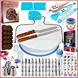 150 Pcs Cake Decorating Supplies Kit for Beginners-1 Turntable stand-48 Numbered icing tips with pattern chart & E.Book-1 Cake Leveler-Straight & Angled Spatula-3 Russian Piping nozzles-Baking tools