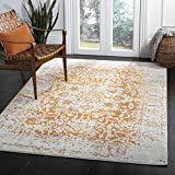 Safavieh Madison Collection MAD603P Vintage Medallion Distressed Area Rug, 8' x 10', Orange/Ivory